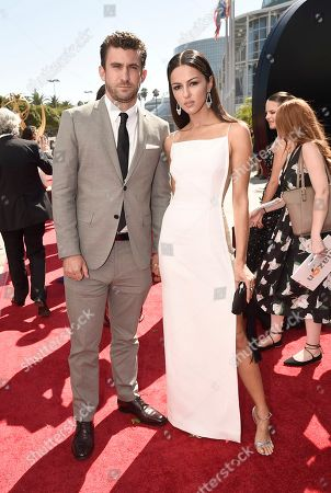 Stock Photo of Annet Mahendru, right, and Lucian Gibson arrive at the 68th Primetime Emmy Awards, at the Microsoft Theater in Los Angeles