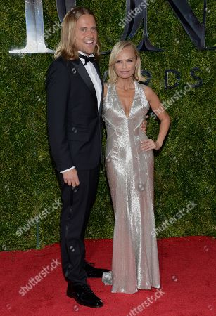 Stock Picture of Andrew Pruett, left, and Kristin Chenoweth arrive at the 69th annual Tony Awards at Radio City Music Hall, in New York