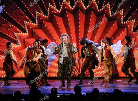 Brad Oscar, center, and the cast of Something Rotten! perform at the 69th annual Tony Awards at Radio City Music Hall, in New York