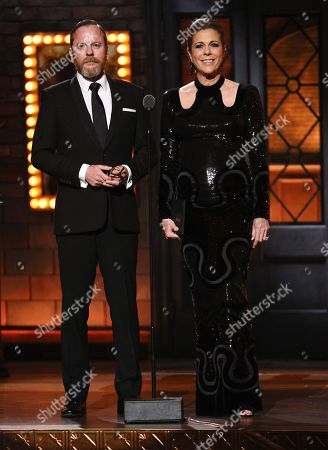 Stock Photo of Keifer Sutherland and Rita Wilson presents the award for best direction of a play at the 69th annual Tony Awards at Radio City Music Hall, in New York