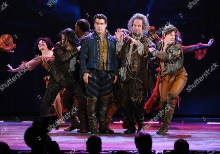 Brian D'Arcy James, center, Brad Oscar, center right, and the cast of Something Rotten! perform at the 69th annual Tony Awards at Radio City Music Hall, in New York