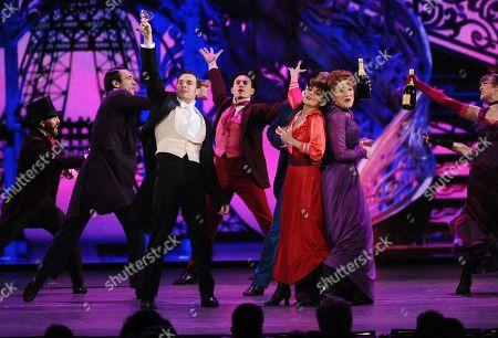 Vaness Hudgens, second right, Victoria Clark, right, and The cast of Gigi perform at the 69th annual Tony Awards at Radio City Music Hall, in New York