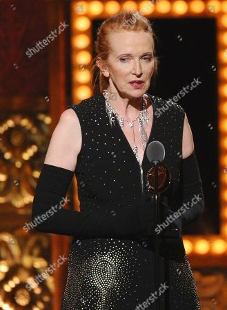 """Catherine Zuber accepts the award for best costume design of a musical for """"The King and I"""" at the 69th annual Tony Awards at Radio City Music Hall, in New York"""