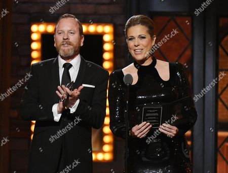 Keifer Sutherland and Rita Wilson presents the award for best direction of a play at the 69th annual Tony Awards at Radio City Music Hall, in New York