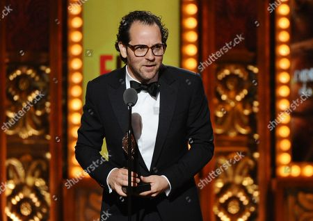 Sam Gold accepts the award for best direction of a musical for Fun Home at the 69th annual Tony Awards at Radio City Music Hall, in New York