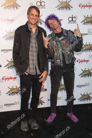 Skateboarders Tony Hawk, left and Kevin Staab attend the 6th Annual Revolver Golden Gods Award Show at Club Nokia on in Los Angeles, California