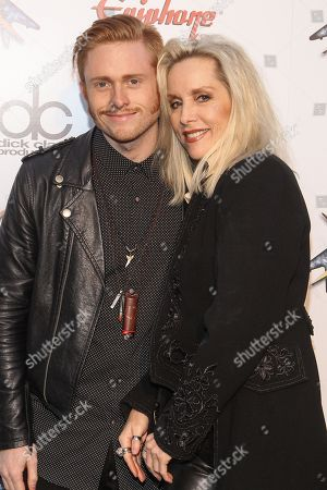 Musician Cherie Currie, right, and son Jake Hays attend the 6th Annual Revolver Golden Gods Award Show at Club Nokia on in Los Angeles, California