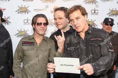 Stock Photo of Don Jamieson, Eddie Trunk, and Jim Florentine of That Metal Show attends the 6th Annual Revolver Golden Gods Award Show at Club Nokia on in Los Angeles, California