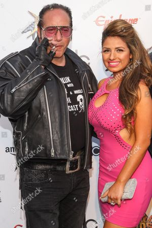 Comedian Andrew Dice Clay and Valerie Vasquez attend the 6th Annual Revolver Golden Gods Award Show at Club Nokia on in Los Angeles, California