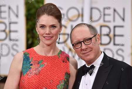 Leslie Stefanson, left, and James Spader arrive at the 72nd annual Golden Globe Awards at the Beverly Hilton Hotel, in Beverly Hills, Calif
