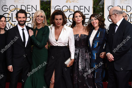 Andrea Sperling, from left, Jay Duplass, Judith Light, Alexandra Billings, Amy Landecker, Jill Soloway and Jeffrey Tambor arrive at the 72nd annual Golden Globe Awards at the Beverly Hilton Hotel, in Beverly Hills, Calif