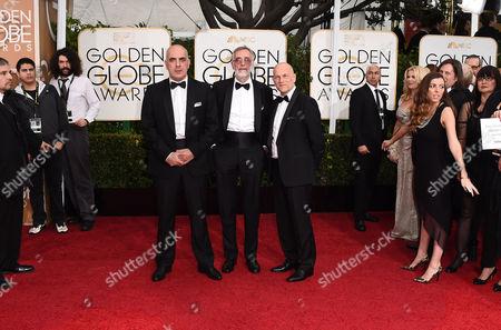 Zaza Urushadze, from left, Lembit Ulfsak, and Ivo Felt arrive at the 72nd annual Golden Globe Awards at the Beverly Hilton Hotel, in Beverly Hills, Calif