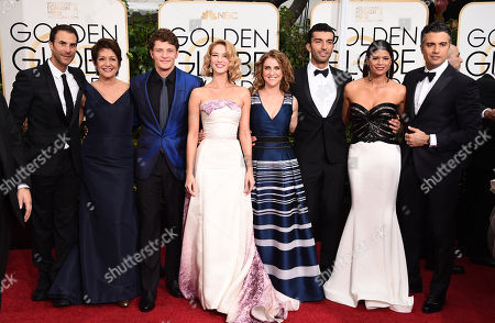 Stock Photo of Benjamin Silverman, from left, Ivonne Coll, Brett Dier, Yael Grobglas, Jennie Snyder, Justin Baldoni, Andrea Navedo, and Jaime Camil arrive at the 72nd annual Golden Globe Awards at the Beverly Hilton Hotel, in Beverly Hills, Calif