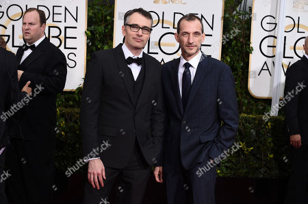 Graham Annable, left, and Anthony Stacchi arrive at the 72nd annual Golden Globe Awards at the Beverly Hilton Hotel, in Beverly Hills, Calif