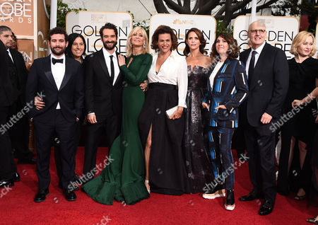Joe Lewis, from left, Andrea Sperling, Jay Duplass, Judith Light, Alexandra Billings, Amy Landecker, Jill Soloway, and Jeffrey Tambor arrive at the 72nd annual Golden Globe Awards at the Beverly Hilton Hotel, in Beverly Hills, Calif