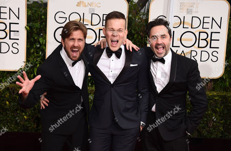 Ruben Ostlund, from left, Johannes Bah Kuhnke and Erik Hemmendorff arrive at the 72nd annual Golden Globe Awards at the Beverly Hilton Hotel, in Beverly Hills, Calif