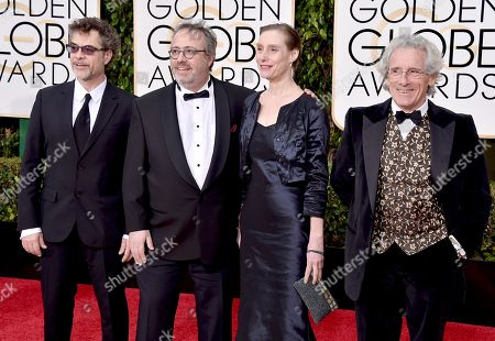 Olivier Rausin, from left, Jaco Van Dormael, Michele Anne De Mey, and Daniel Marquet arrive at the 73rd annual Golden Globe Awards, at the Beverly Hilton Hotel in Beverly Hills, Calif