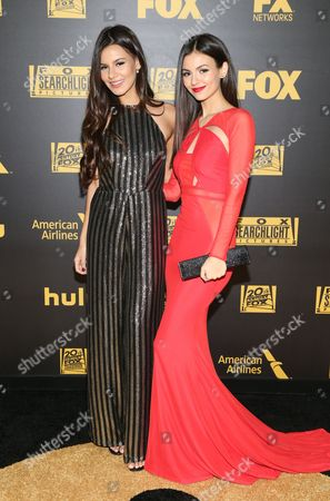 Stock Photo of Madison Justice, left, and Victoria Justice arrive at the FOX Golden Globes afterparty, at the Beverly Hilton Hotel in Beverly Hills, Calif