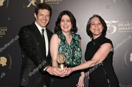 "Executive producer Jason Blum, left, director and producer Alexandra Shiva and producer Bari Pearlman pose with their award for the documentary ""How To Dance in Ohio"", at the 75th Annual Peabody Awards Ceremony at Cipriani Wall Street, in New York"