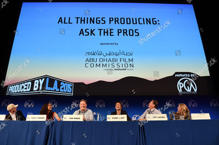 From left, Ian Bryce, Tracey Edmonds, John Heinsen, Stu Levy, Gary Lucchesi and Lori McCreary speak at the 7th Annual Produced By Conference presented by Producers Guild of America at Paramount Pictures Studios on in Los Angeles