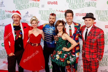 Stock Image of Sam Hollander, from left, Charity Daw, Tyler Glenn, Lisa Loeb, Kevin Griffin, and Mark McGrath, cast of the holiday super group Band of Merrymakers arrive at the 85th Annual Hollywood Christmas Parade, in Los Angeles