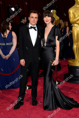 Barnaby Clay, left, and Karen O arrive at the Oscars, at the Dolby Theatre in Los Angeles