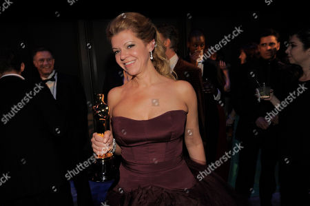 """Robin Mathews, winner of the award for best makeup and hairstyling for """"Dallas Buyers Club"""" attends the Governors Ball after the Oscars, at the Dolby Theatre in Los Angeles"""