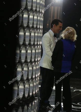 Matthew McConaughey, left, and Kim Novak backstage during the Oscars at the Dolby Theatre, in Los Angeles