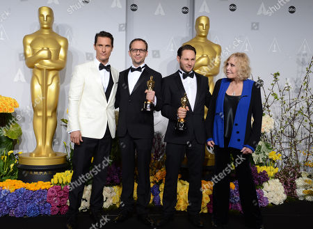 "From Left, Matthew McConaughey, Laurent Witz, Alexandre Espigares, and Kim Novak pose in the press room with the award for best animated short film of the year for ""Mr. Hublot"" during the Oscars at the Dolby Theatre, in Los Angeles"