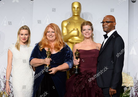 "From left, Naomi Watts, Adruitha Lee, Robin Mathews, and Samuel L. Jackson as award is accepted for the award for best makeup and hairstyling for ""Dallas Buyers Club"" - xxx poses in the press room during the Oscars at the Dolby Theatre, in Los Angeles"
