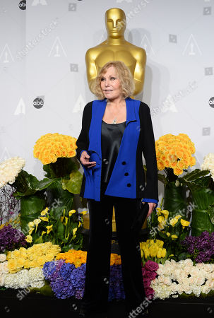 Kim Novak poses in the press room during the Oscars at the Dolby Theatre, in Los Angeles