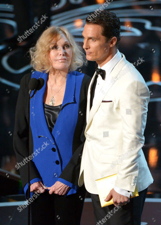 Kim Novak, left, and Matthew McConaughey speak on stage during the Oscars at the Dolby Theatre, in Los Angeles