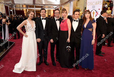 Joanna Newsom, from left, Andy Samberg, Liz Cackowski, Akiva Schaffer, Marielle Heller, and Jorma Taccone arrives at the Oscars, at the Dolby Theatre in Los Angeles