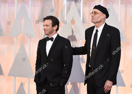 Stock Picture of Dan Futterman, left, and E. Max Frye arrive at the Oscars, at the Dolby Theatre in Los Angeles