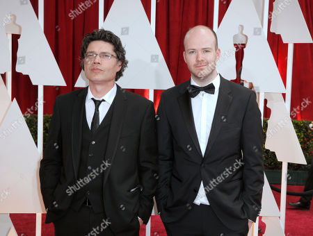 Michael Lennox, left and Ronan Blaney arrive at the Oscars, at the Dolby Theatre in Los Angeles
