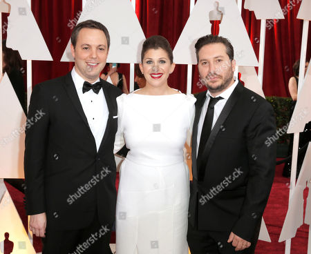 Stock Photo of From left, Ido Ostrowsky, Nora Grossman, and, Teddy Schwarzman arrive at the Oscars, at the Dolby Theatre in Los Angeles