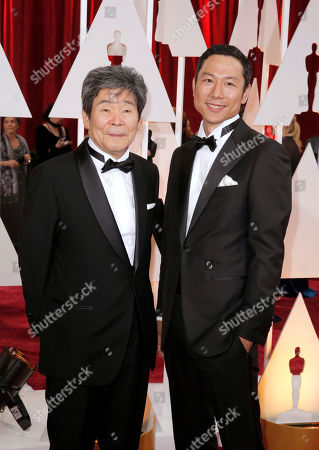 Stock Picture of Isao Takahata, left and Yoshiaki Nishimura arrive at the Oscars, at the Dolby Theatre in Los Angeles
