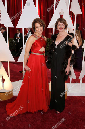 Ellen Goosenberg Kent, left, and Dana Heinz Perry arrive at the Oscars, at the Dolby Theatre in Los Angeles