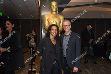 "Tabitha Jackson, left, and Rob Epstein arrive at the 87th Academy Awards - ""Documentaries"" at the Samuel Goldwyn Theatre on in Beverly Hills, Calif"