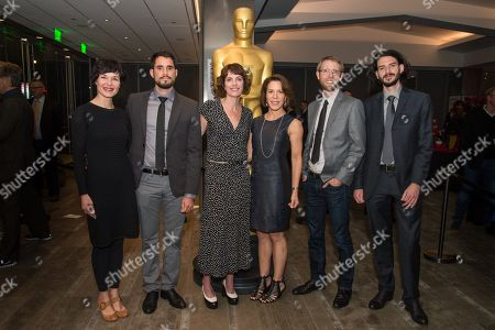 "Aneta Kopacz, left, Gabriel Serra Arguello, Dana Perry, Ellen Goosenberg Kent, J. Christian Jensen and Tomasz Sliwinski arrive at the 87th Academy Awards - ""Documentaries"" at the Samuel Goldwyn Theatre on in Beverly Hills, Calif"