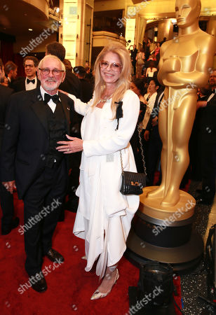 Norman Jewison, left, and Lynne St. David arrives at the Oscars, at the Dolby Theatre in Los Angeles