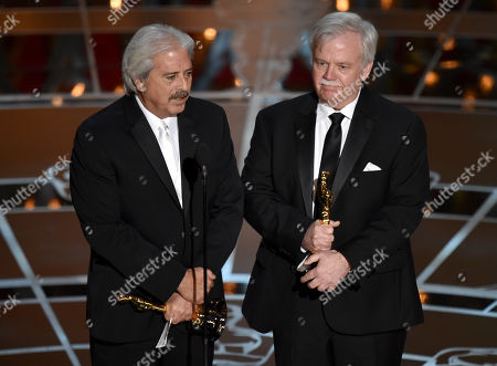 Alan Robert Murray, left, and Bub Asman accept the award for best sound editing for American Sniper at the Oscars, at the Dolby Theatre in Los Angeles