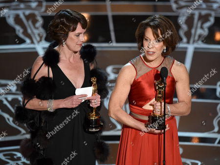 Stock Image of Dana Perry, left, and Ellen Goosenberg Kent accept the award for best short subject documentary for â?oeCrisis Hotline: Veterans Press 1â?? at the Oscars, at the Dolby Theatre in Los Angeles