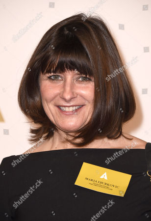 Stock Image of Maria Djurkovic arrives at the 87th Academy Awards nominees luncheon at the Beverly Hilton Hotel, in Beverly Hills, Calif