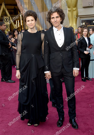 Stephan Moccio, right, and Hilary Kristen Moccio arrive at the Oscars, at the Dolby Theatre in Los Angeles