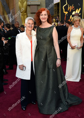 Stock Photo of Emma Donoghue, right, and Christine Roulston arrive at the Oscars, at the Dolby Theatre in Los Angeles