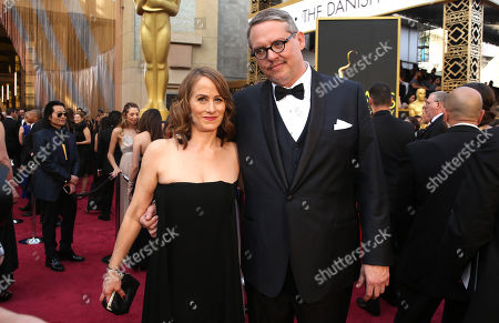 Shira Piven, left, and Adam McKay arrive at the Oscars, at the Dolby Theatre in Los Angeles