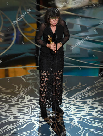 Margaret Sixel accepts the award for best film editing for Mad Max: Fury Road at the Oscars, at the Dolby Theatre in Los Angeles