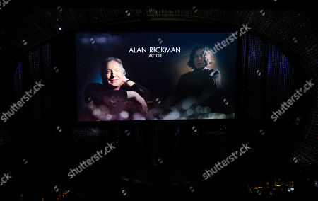 Stock Picture of Alan Rickman is featured on screen during the in memoriam tribute at the Oscars, at the Dolby Theatre in Los Angeles