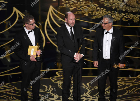 Stock Image of Gregg Rudloff, from left, Chris Jenkins, and Ben Osmo accept the award for best sound mixing for Mad Max: Fury Road at the Oscars, at the Dolby Theatre in Los Angeles